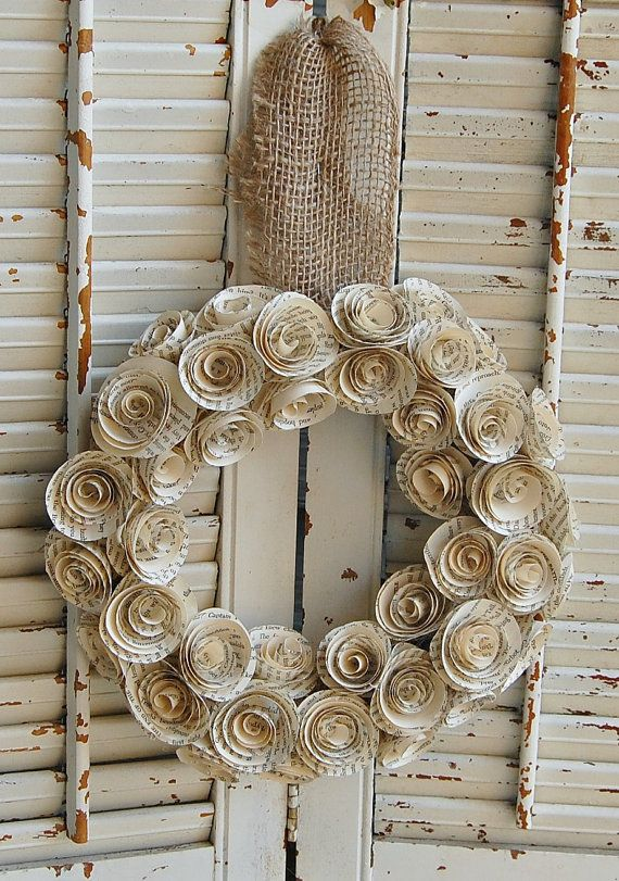"""TWO  13-14 """" Vintage Book Rose Paper Wreaths / Book Lover / Wedding Decor / Book Theme Shower"""