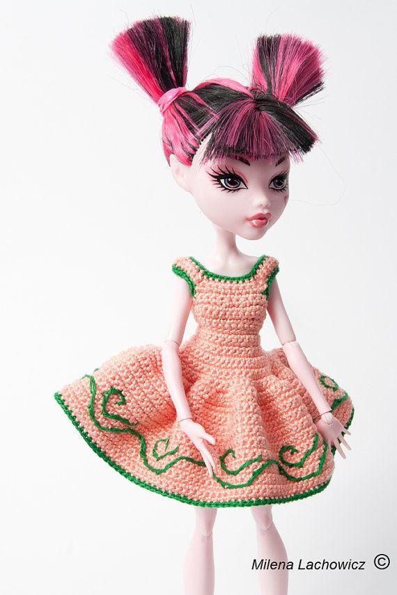 OOAK mode pour poupée Monster High, robe au Crochet pour poupées