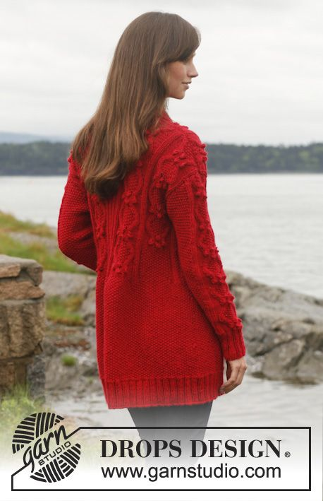 """Gladiola - Knitted DROPS jacket with cables and shawl collar in """"Lima"""". Size: S - XXXL. - Free pattern by DROPS Design"""