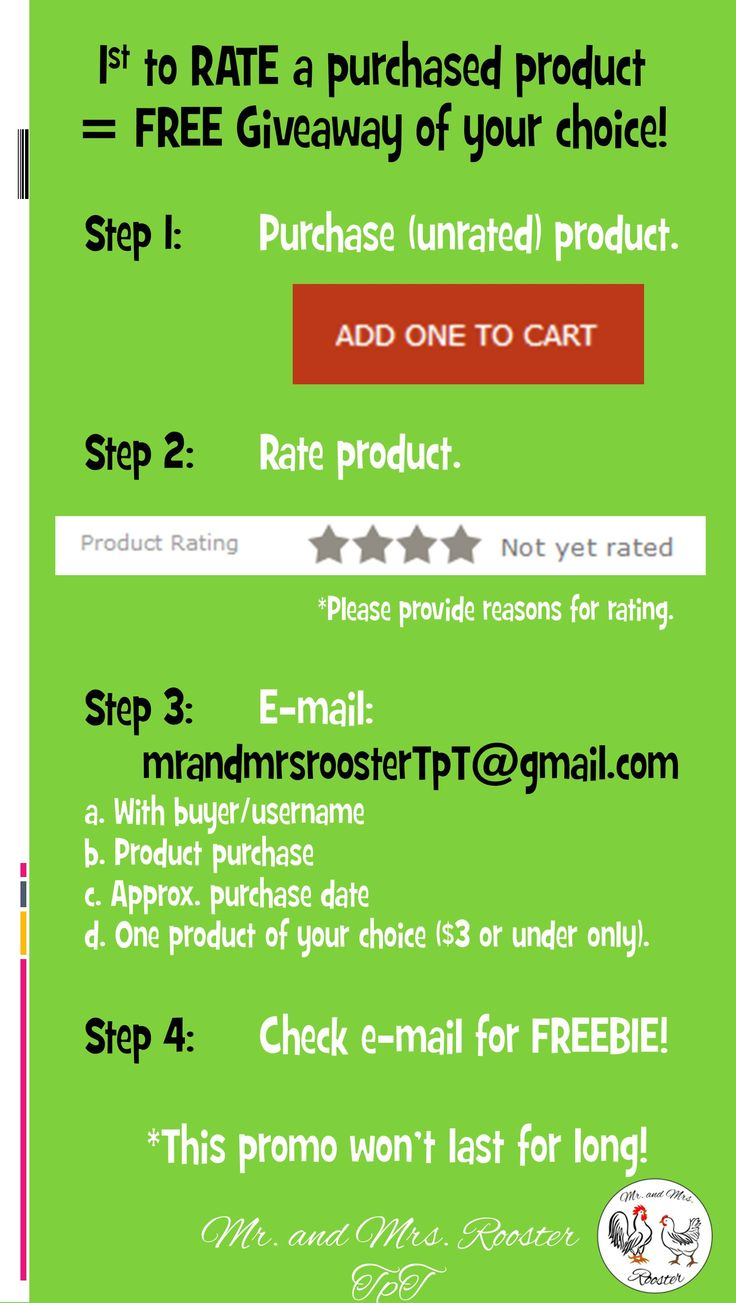 Be the first to RATE a purchased product, get a FREE product just for your feedback! As a special thanks from Mr. and Mrs. Rooster