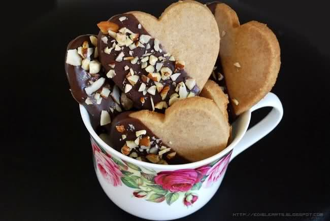 Heart Shaped Cinnamon Short Bread Cookies Covered with Dark Chocolate ...