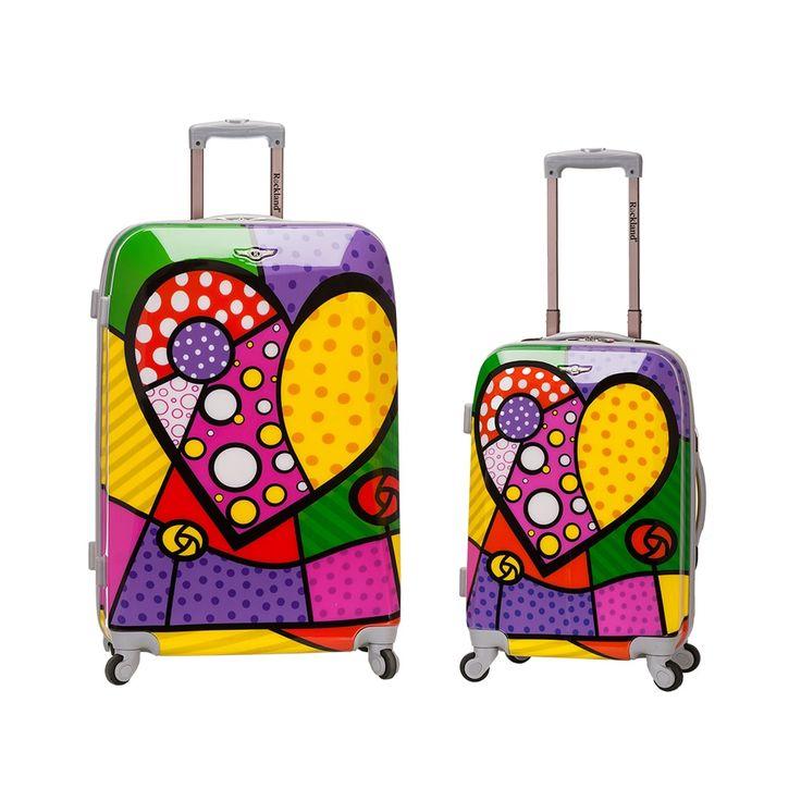 rockland heart 2piece lightweight hardside spinner luggage set