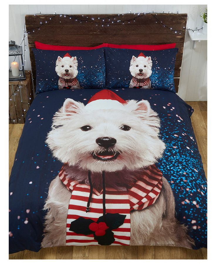 This Christmas Westie Dog single duvet cover set features a cute Westie dressed up for Christmas in his hat and scarf on a dark blue background. Free delivery available