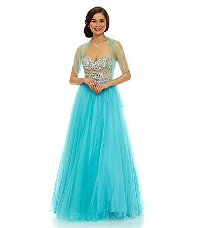 Blue is in Glamour by Terani Couture Beaded TwoTone Ball Gown #Dillards