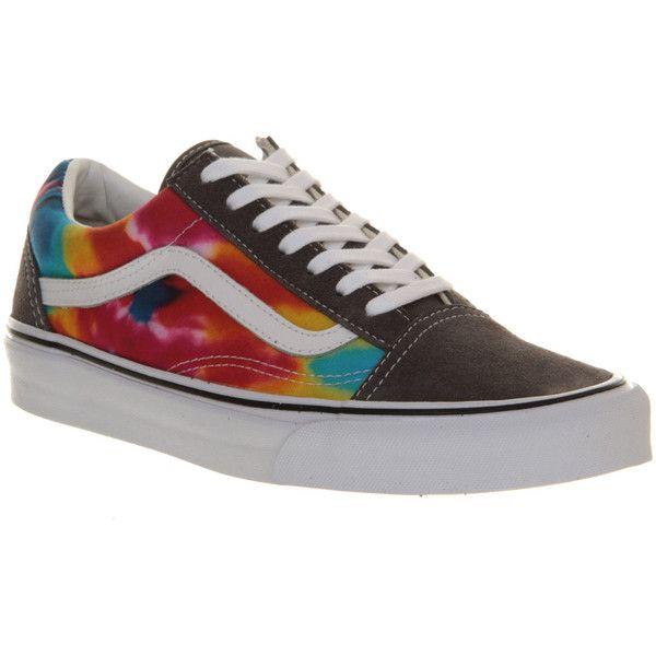 Vans Old Skool ($40) ❤ liked on Polyvore featuring shoes, sneakers, vans, trainers, grey tie dye, unisex sports, vans footwear, gray sneakers, vans shoes and lace up shoes