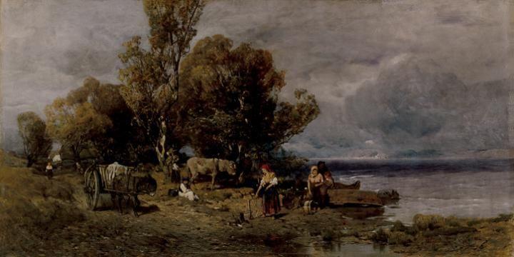 Mészöly Géza , Vízparton , 1879 , Olaj, Fa