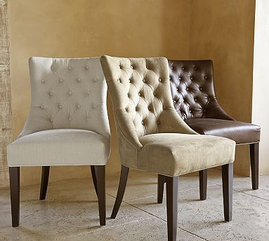 hayes tufted chair potterybarn u003e to complement the tufting on the banquette and