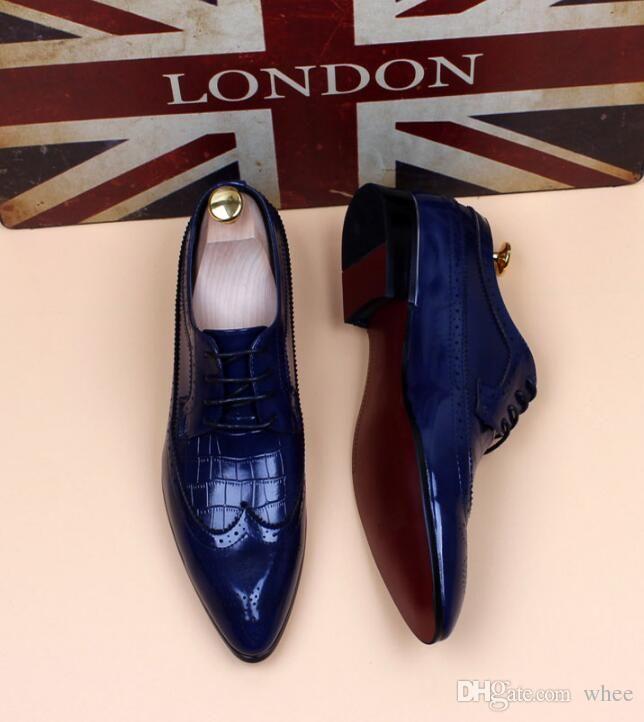 0087cd93b44 2018 trend luxury brand men designer dress shoes carving Casual ...
