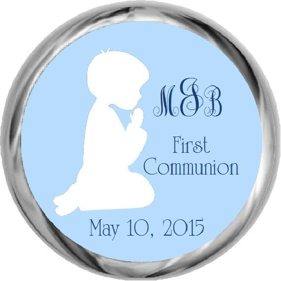 Monogram First Communion Stickers  First Holy by FabPartyPrints