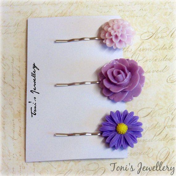 Three Flower Hair Pins  Purple Combo Resin Dainty