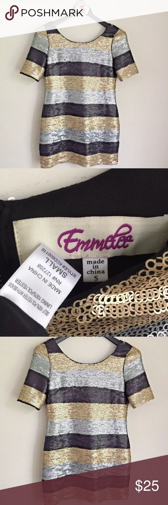 """Emmelee Metallic Striped Ring Sequins Dress Women's Emmelee Black Gold Silver Striped Ring Sequins Dress  Full Back Zipper  Short sleeve  Lined  Pre-owned in great condition  Size S  Measures 18"""" across chest arm pit to arm pit laying flat  Length is 32"""" long Emmelee Dresses Mini"""