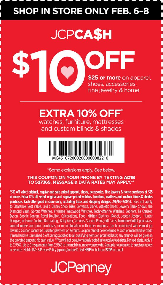 JCPenney 10 off 25 Printable Coupon Jcpenney coupons