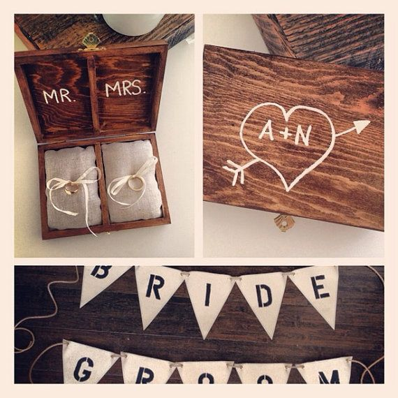 Matrimonio personalizzato personalizzato portatore cuscino scatola dell'anello, rustico