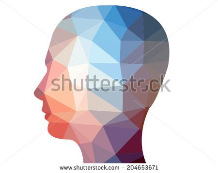 Creative polygon illustration of human head