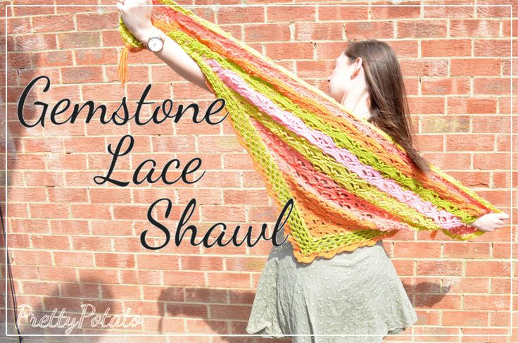 Gemstone Lace Shawl: Crochet in caron cakes strawberry and cream yarn
