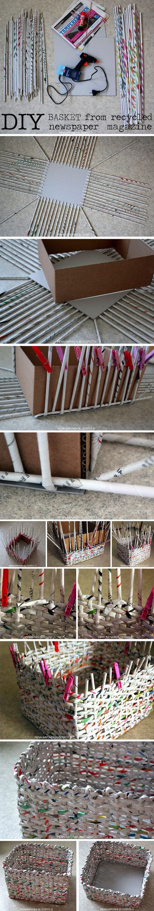 DIY basket from recycled newspaper magazines ( http://pienivarpunen.blogspot.com/2013/09/diy-sanomalehdista-itse-punottuja-koreja.html ):