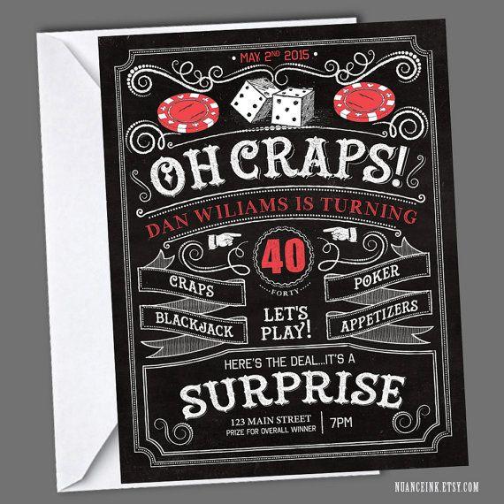 Poker Casino Craps Birthday Party Invitations Printed or Digital Copy 24 Hr Turnaround! Baby Shower Wedding Dice Chalkboard