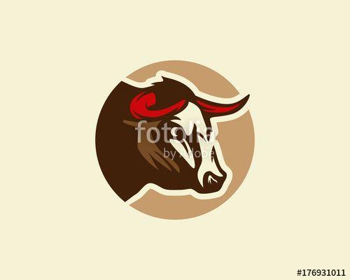 Vector: Bull logo, silhouette of a bull head, bull vector