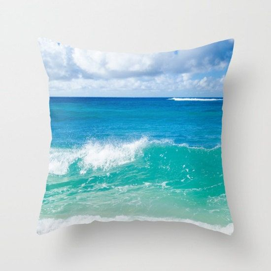 Ocean wave pillow cover Tropical Pillow Cover by EllenSmilePhoto