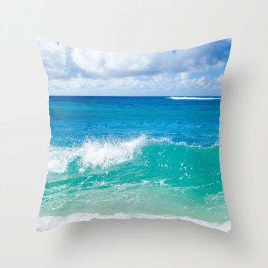 Ocean wave hoofdkussen cover, tropische kussensloop, strand kussen cover, aangepast, zee beddengoed, Turquoise kussen, diep water, kussensloop
