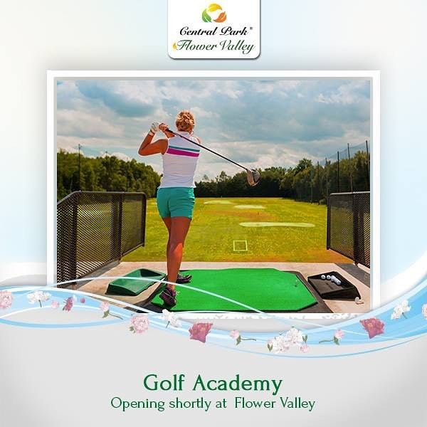 The Golf Academy is set to open. So get your club out and go putting chipping driving. #CentralParkFlowerValley. To know more call : 1800 103 6660