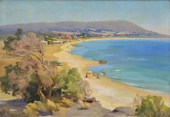 Beach Scene By Ernest Buckmaster