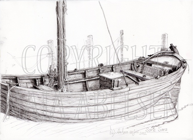 """""""Sorte Sara"""" (Black Sara) Ink study done on the Harbour in the evening sun by Naja Abelsen.  2012. The boat is now sold to a german museum. abelsen.dk Commission work: original belongs to former shipowner."""