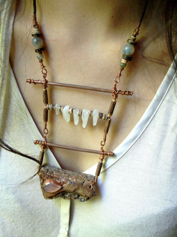 Handmade with Copper Blossom Agate cabochon Driftwood by TribeAll