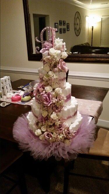 Shabby chic diaper cake.