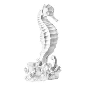 Seahorse Candle Holder in White