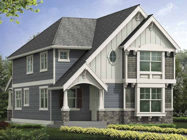 Best Narrow Lot House Plans Images On Pinterest Narrow Lot - Craftsman style narrow house plans