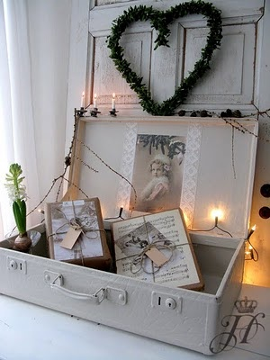 ,,.Just look at those packages! Such a pretty way to wrap gifts! This vignette would not be difficult to recreate if you happen to have an old suitcase to use.  Cute with fairy lights.