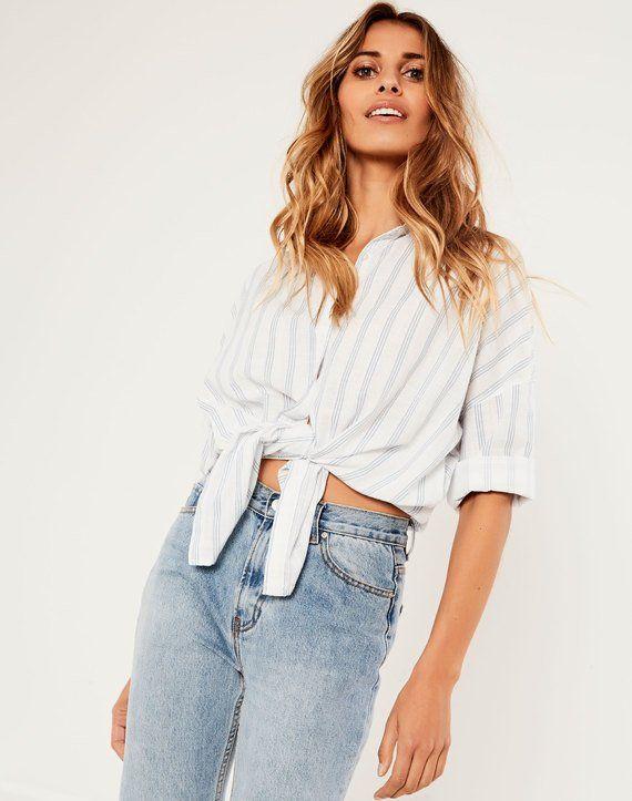 Button Up Shirt White/coronet Blue Stripe