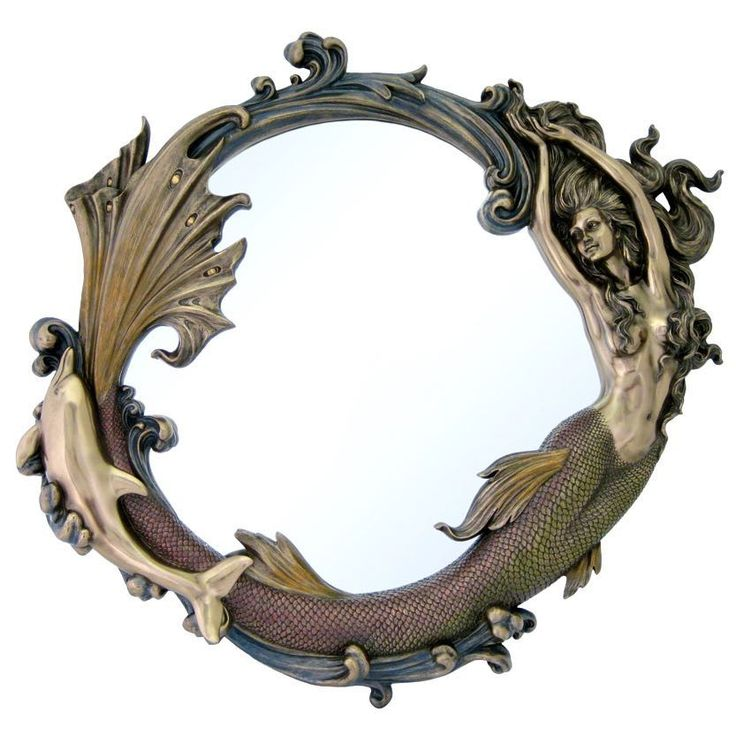 Mermaid Mirror Large Size Nautical Ocean Decor 24 Inch Amazing resin Mermaid mirror finished in a cold cast bronze that gives the rich look and feel of real metal. Hand painted accents to bring out ev