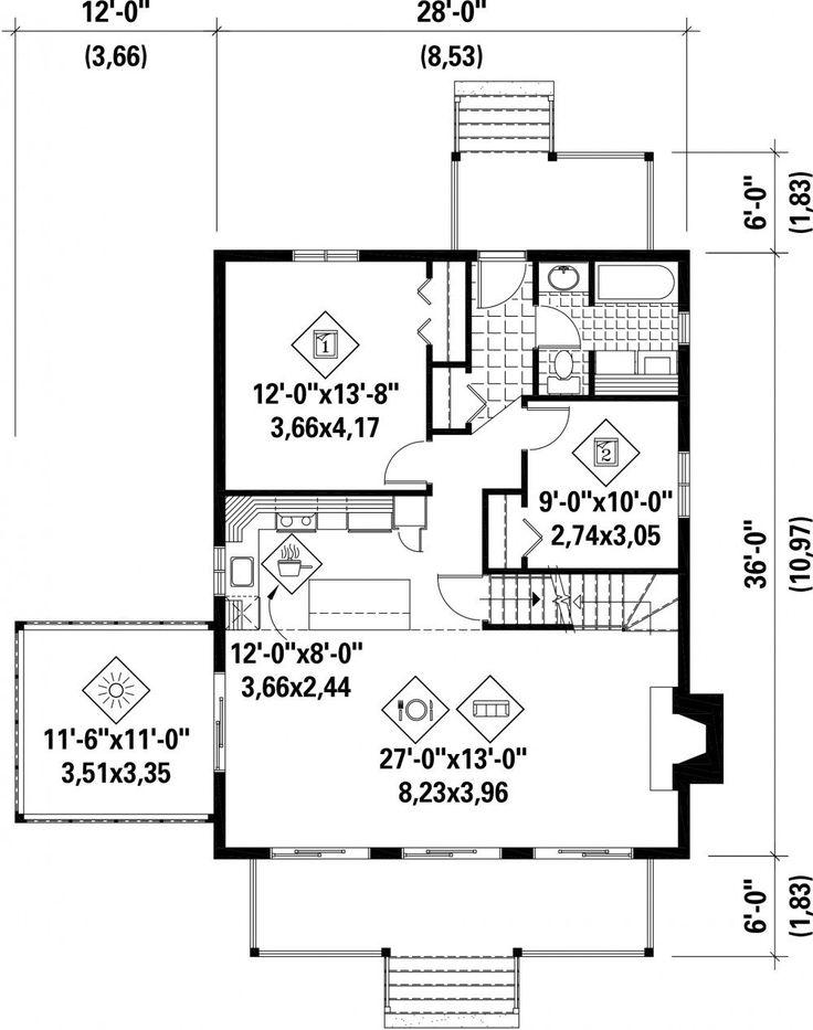 Le revêtement extérieur en bois et en bardeaux de cèdre ainsi que la véranda à l'avant donnent à ce chalet un petit côté rustique qui s'harmonise bien avec la nature. Ce modèle mesure 28 pieds de largeur sur 36 pieds de profondeur et sa surface habitable est de 1 440 pieds carrés.<br/> Le rez-de-chaussée de 1 008 pieds carrés compte un solarium, une salle à manger et un salon avec plafond cathédrale et foyer, une cuisine fonctionnelle avec îlot, une salle de bains et deux chambres...