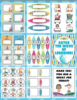 Surfing Into A New School Year Back to School Pack - This surfing themed pack is loaded with back to school ideas! It has room decor, open house items, a behavior management system, first week activities and much more! $