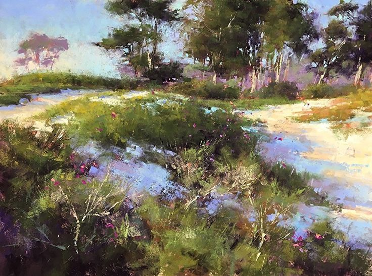 Pink Flowers and Dune Grasses by Jacob Aguiar Pastel ~ 12 x 16