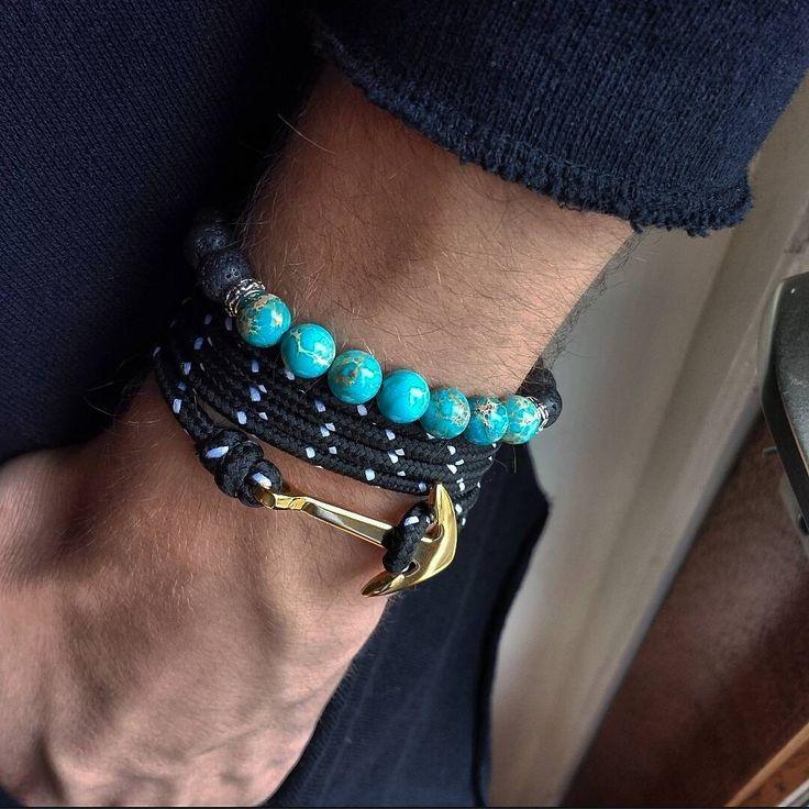 NEW SUMMER COLLECTION!! Name: Tarik Type: Rope- Stainless steal Color: Black/White - - - - - - - - - - - - - - - - - - - - - - - - - -  Name: Neal Type: Imperial Jasper stone Color: sky blue - Lava stone  #stonebrace #unique #unisex #online #shop #netherlands #anchor #stone #bracelets #fashion #egypt #product #instacool #instadaily #instapic #2016 #esquirenl #bloggernet #streetfashion www.stonebrace.nl