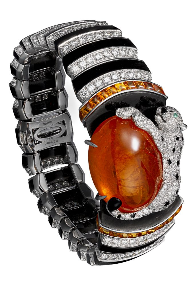 Panthère de Cartier High Jewelry bracelet Platinum, one 63.55-carat cabochon-cut spessartite garnet, garnets, onyx, obsidian, emerald eyes, brilliants