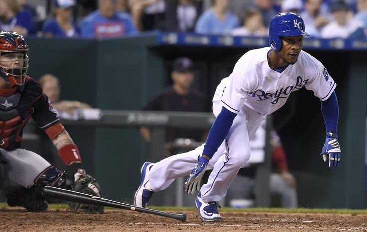 Kansas City Royals' Jarrod Dyson (1) heads down the base path after hitting a triple in the fifth inning during Tuesday's baseball game against the Cleveland Indians on May 5, 2015 at Kauffman Stadium in Kansas City, Mo.