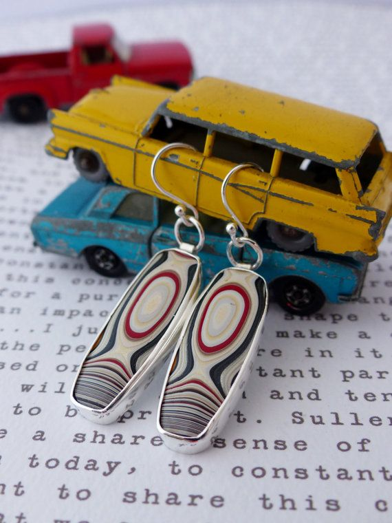 Contemporary Fordite and Fire Opal Earrings by KirstyMuirJewellery