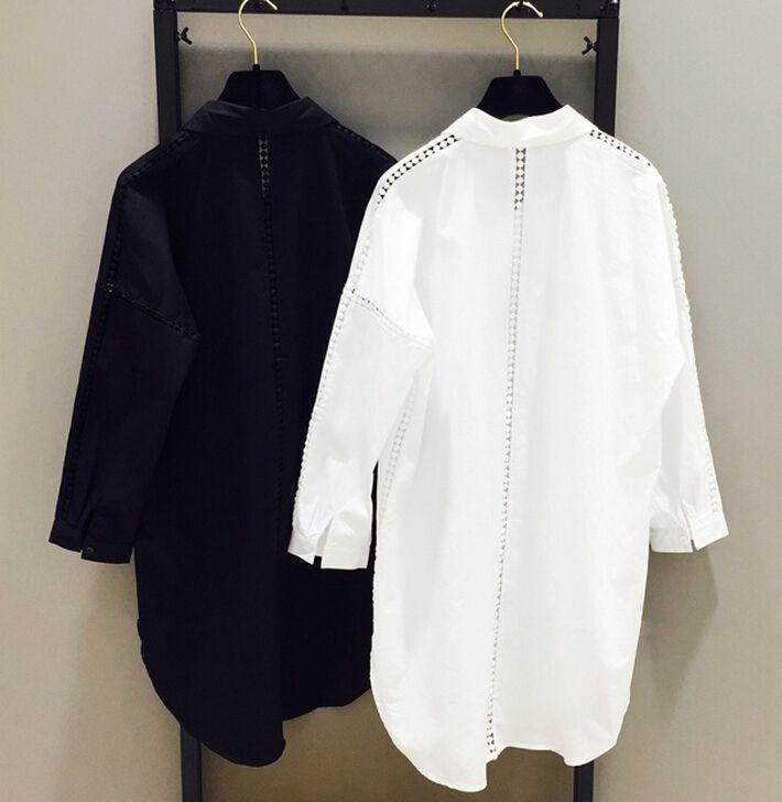 Корейская версия женщин большого размера 200 фунтов полая рубашки 2016 Hitz жира мм длинный участок рыхлой тонкой рубашки - Taobao