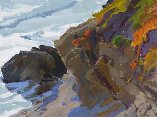 Marcia Burtt  Sun in the West, Otter Cove  acrylic 12×16 in.