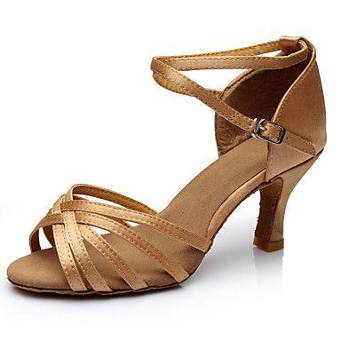 Chaussures de danse(Noir Marron Argent Or Léopard Autre) -Personnalisables-Talon Personnalisé-Soie-Latine Salon de 4682286 2017 à $11.99