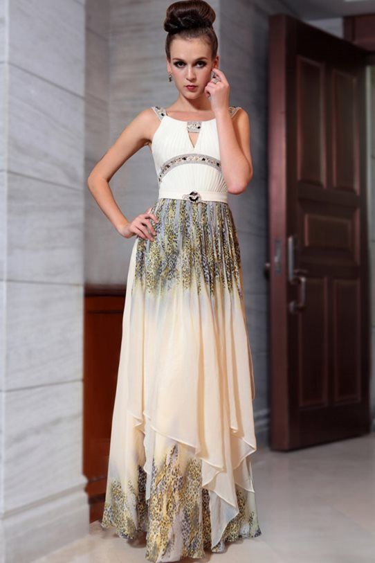 cream ball dress,cream evening dress, new season 2014 printed gown. $349.00  Buy online - free shipping worldwide!   www.theformalshop.co.nz