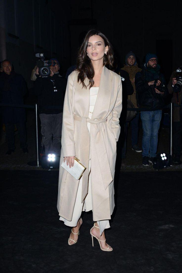 Emily Ratajkowski wearing Giuseppe Zanotti Harmony Sandals and AYR the Fold Coat in Pale Camel