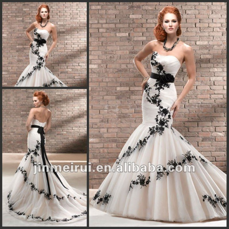 Famous Designer 2017 Sweetheart Lique Black Flowers Organza Luxurious Lace And White Mermaid Wedding Dresses