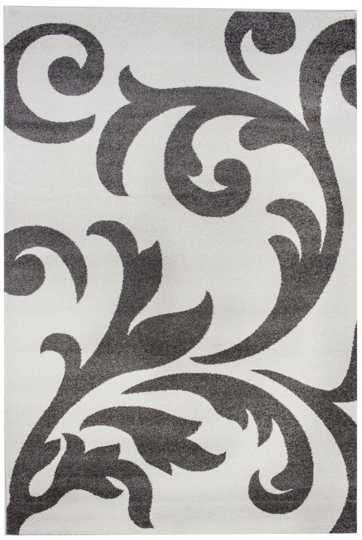 Metro Ivory & Grey Floral Damask Rug