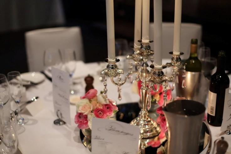 Silver vintage candelabras with fresh florals www.touchedbyangels.com.au