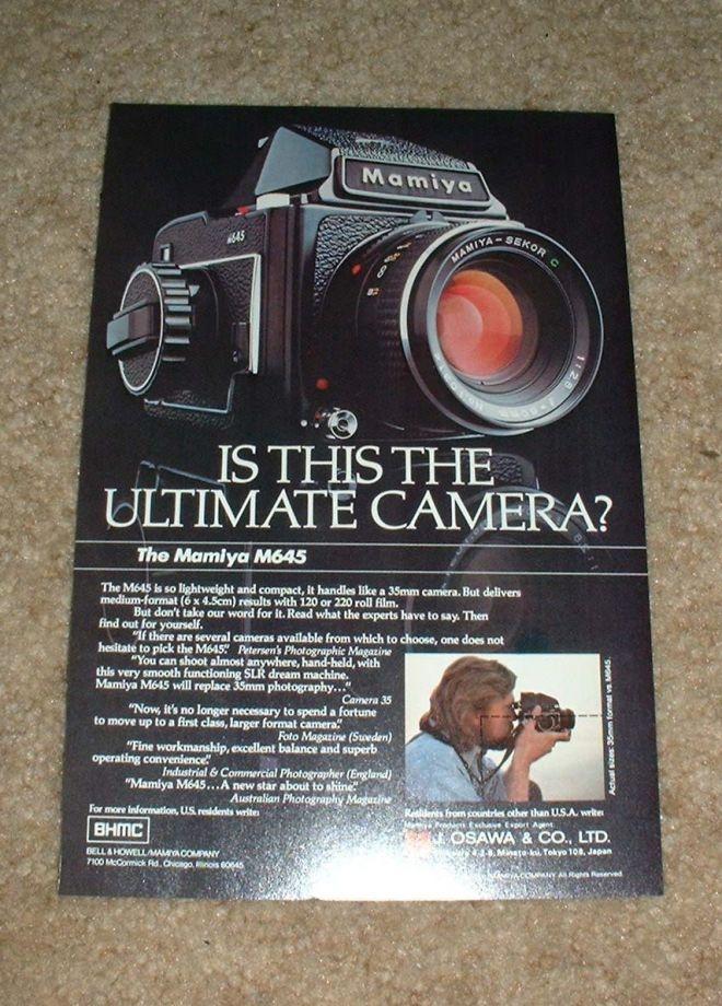 Mamiya 645 M645 Camera Ad, The Ultimate Camera (1977)